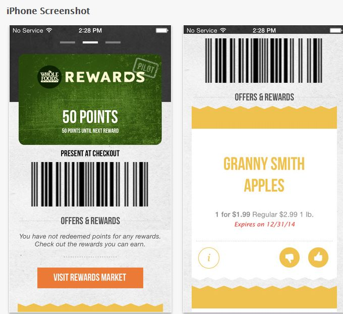 Whole Foods Rewards App Shot